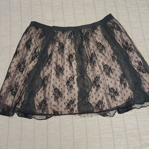 American eagle black pink lace skirt